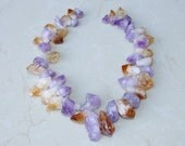 Amethyst & Citrine Points Nuggets - Points - 20mm x 30mm  - 7 inch Strand