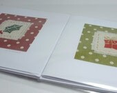 Pack of 4 hand stitched Holly and Present Christmas cards