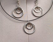 3 loop silver earrings and necklace set. dangle earrings. pendant and choker necklace