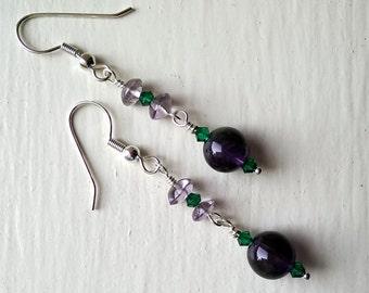 Royally amethyst dangle silver earrings