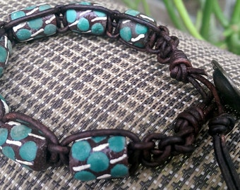 Handmade macrame leather bracelet  with  hand painted clay beads