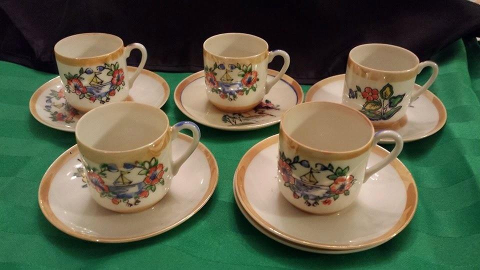 Vintage K S  Made in Occupied Japan Demitasse Set/ Set of 5 Tea Cups
