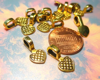 Antique Gold Heart-Shaped Glue-on Bails 16mm x 8mm Metal Beads