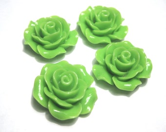 10pcs Resin Cabochon Green Flowers with No Hole and Flat Back 20mm