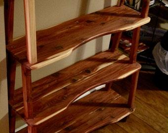 bookshelf, cedar bookshelf, wooden bookshelf, display shelf, wooden display shelf