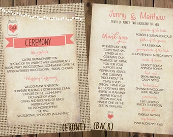 Rustic Wedding Programs Double-Sided