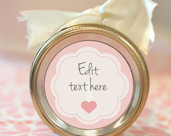 Printable editable heart label | Pink scalloped mason jar label | Customizable gift tag