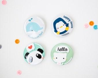 Whale Penguin Panda Cat Button Pins