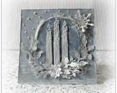 """Christmas card handmade, 3D Christmas card , Christmas candles card , folded card , 6"""" x 6 """" card , blank card"""