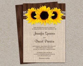 Rustic Sunflower Wedding Invitations With Burlap And Lace, Country Wedding Invitation Cards With Sunflowers, Rustic Wedding Invitation Cards