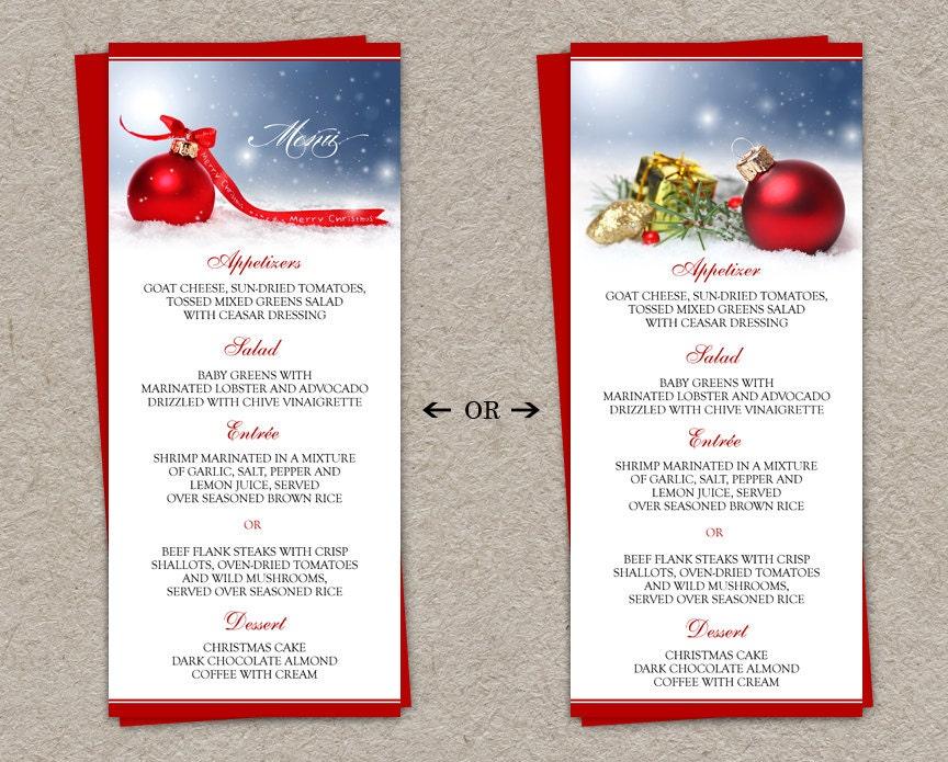 Diy printable holiday dinner party menus and christmas menu for Southern christmas dinner menu ideas