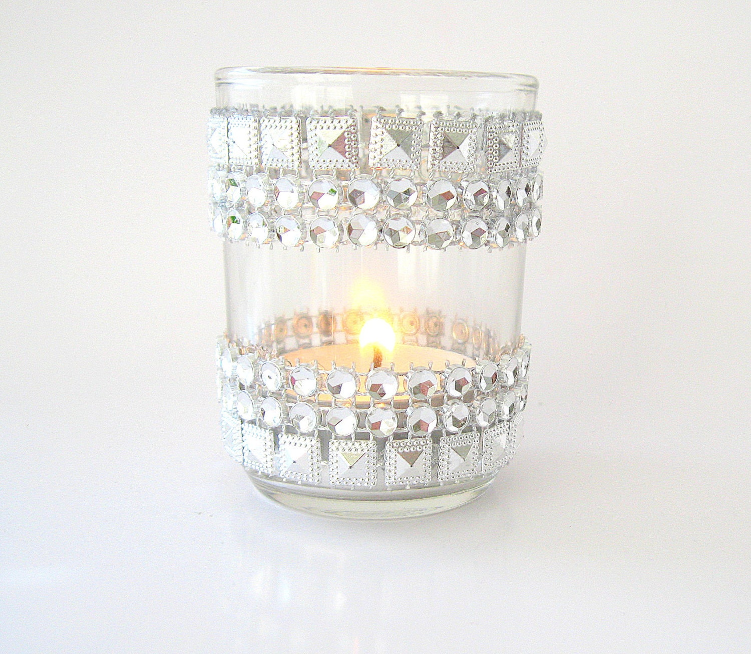 silver jeweled bling candle holders votive 10 jeweled votive