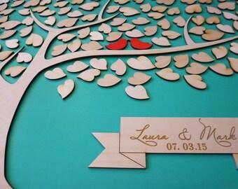 Custom Wedding Guest Book Alternative Wedding Guestbook Tree Unique Wedding Guestbooks Sign w Custom Engraved Text and 135 Leaves Keepsake