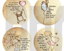 Classic Winnie The Pooh Cupcake Topper Digital File- You print at home!
