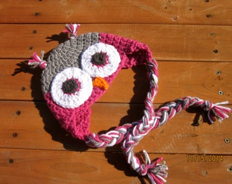 Crochet Baby Owl Hat, Crochet Owl Hat, Owl Hat, Pink Hat, Crochet Girl Hat, Baby Girl Hat, Toddler Hat, Earflap Hat, Baby Shower, 3-6 months