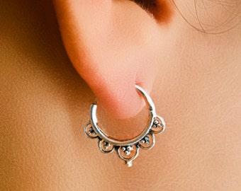 Silver Earrings - Silver Hoops - Gypsy Earrings - Tribal Earrings - Ethnic Earrings - Indian Earrings - Ttibal Hoops - Indian Hoops (S4)