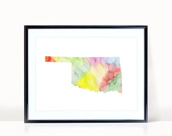 Oklahoma State Wall Art, Watercolor Print INSTANT DOWNLOAD