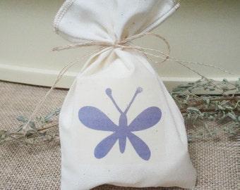 Muslin Favor Bag, Butterfly, Fabric Bag, 5 x 8, Birthday Favor Bag, Baby Shower Favor Bag