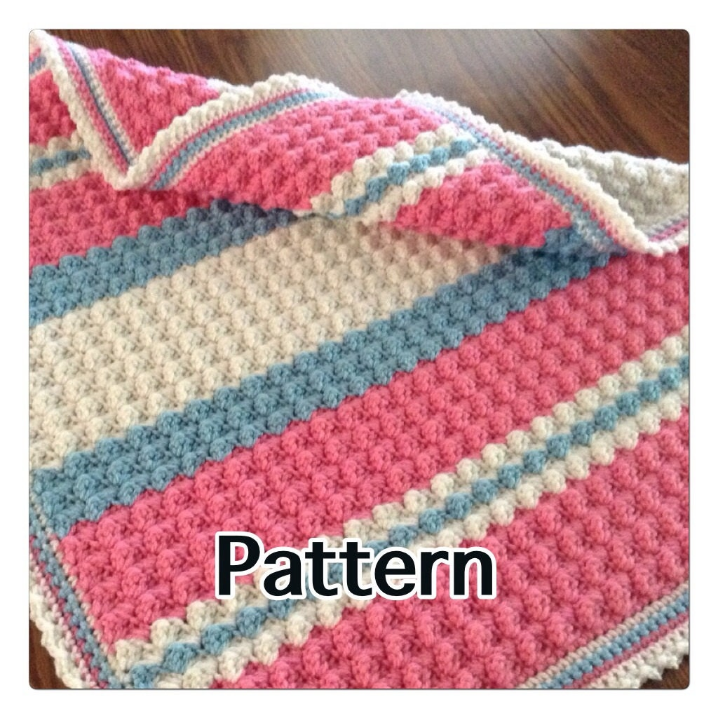 Pattern for Unique Textured Crochet Baby Blanket Sweet Shell