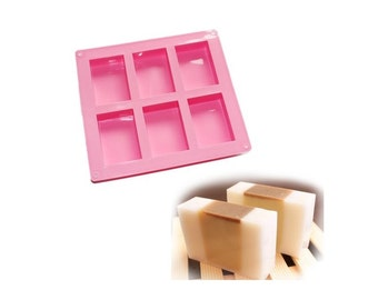 6 Cavity Plain Basic Rectangle Soap Mold Silicone Mould for Homemade Crafting, Create Soap Molds For Soap Projects, Homemade Soap making