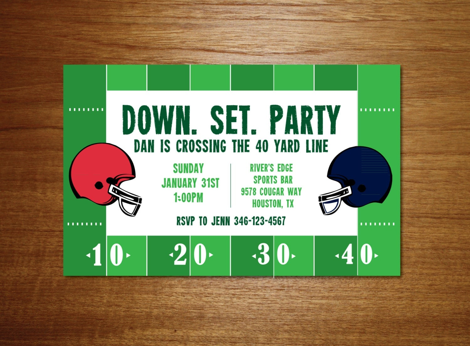 Football Invitation 40th Birthday Football Invitation