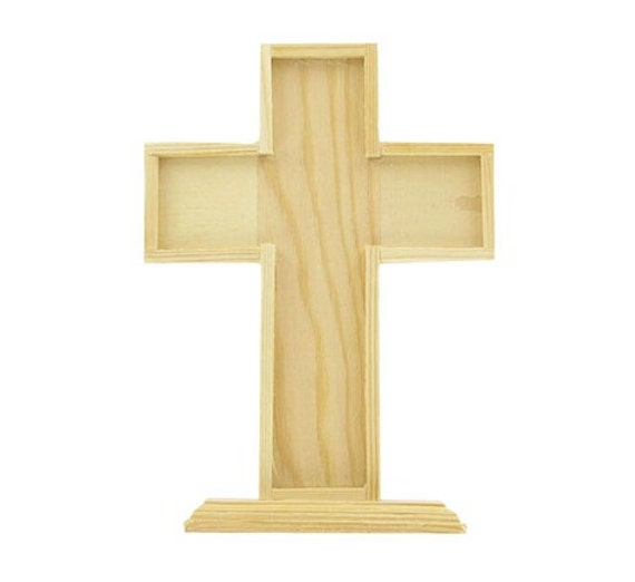 Unfinished wood standing cross standing by thecraftersmerchant for Wooden craft crosses wholesale