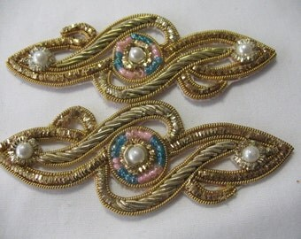 Vintage BEADED PAISLEY APPLIQUE Gold and Silver