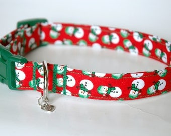 "Handmade Red Christmas Snowman Design Dog Collar ""New"""