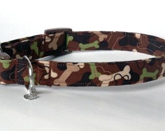 """Handmade Camo Dog Bone Dog Collar  """"New"""""""