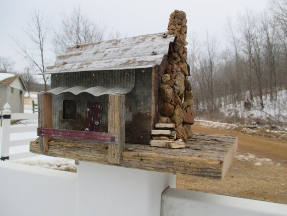 Birdhouse reclaimed barn wood tiny cabin in the woods - The wood cabin on the rocks ...