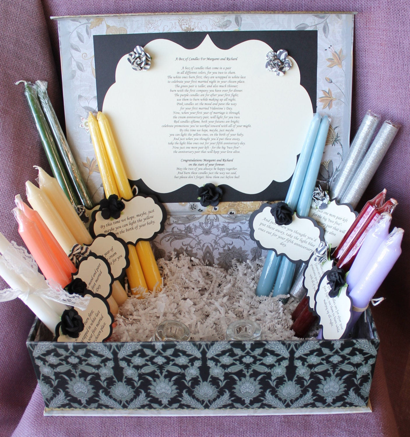 Wedding Shower Candle Poem Gift Set. Peacock by MadyBellaDesigns