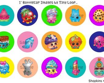 "15 Shopkins Bottlecap Images 1"" Circle 4x6 Instant Download"