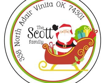 Christmas Round Address Labels-Santa Address Labels