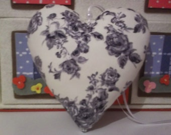 heart,fabric heart,hanging heart,grey roses,floral,romantic,valentine