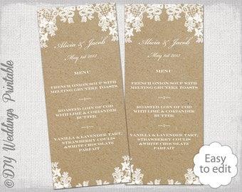 Rustic Wedding Menu Template Lace Printable Ecru DIY Kraft