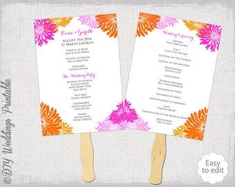 "Wedding program template fan Pink & Orange ""Flower Burst""  DIY order of ceremony Gerber daisy printable - Editable Word digital download"