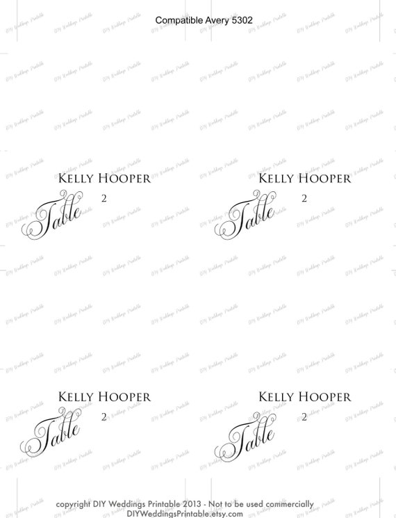 100 Avery Place Card Template Calligraphic