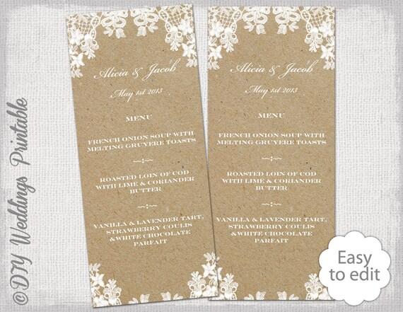 Populaire Rustique mariage menu modèle Dentelle rustique menu ND86