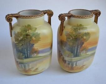 PAIR of Antique Nippon Porcelain Landscape Vases