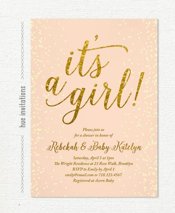 Sprinkle baby shower invitations diabetesmangfo baby sprinkle invitations girl coral gold glitter baby girl baby shower filmwisefo Gallery