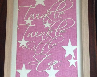 A4 Framed Papercut - Twinkle Twinkle