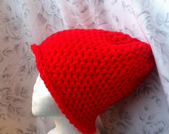 Knit Bright Red Slouch Beanie