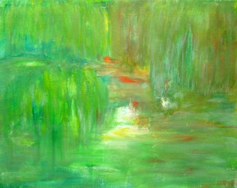 """Green Spring Abstract Landscape Painting Acrylic Abstract Canvas Art Green Painting Spring Painting Spring Green Abstract Painting 9x12"""""""