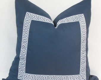 "Navy Greek key ribbon border decorative throw pillow cover. 18"" x 18"". 20"" x 20"". 22"" x 22"". 24"" x 24"". 26"" x 26"""