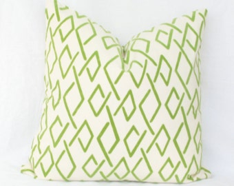 "Green & ivory geometric pillow cover.  20"" x 20"". 22"" x 22"". 24"" x 24"". 26"" x 26"" euro sham."