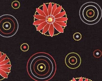 Nordic Visions - Circles, Black - Red Rooster (23647-BLA1) Cotton Fabric Yardage