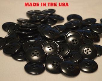 """50 1"""" Bulk Black Buttons 1 inch Black Plastic Buttons Buttons 25mm Black Button Craft Buttons Sewing Buttons Four Hole Buttons"""