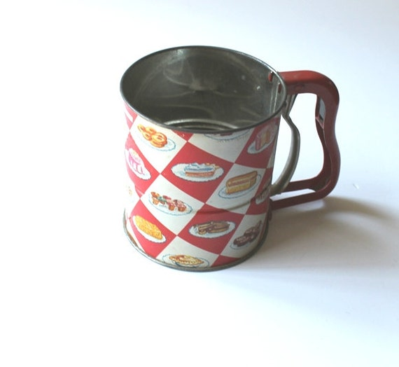 Vintage 1950s Androck Flour Sifter Red And White By