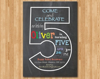 Chalkboard 5th Birthday Invitation. Fifth Birthday Invite. Baby Boy or Girl Birthday Party. Turning Five. Printable Digital DIY