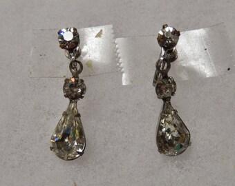 Screw Back Dangling Rhinestone Earrings